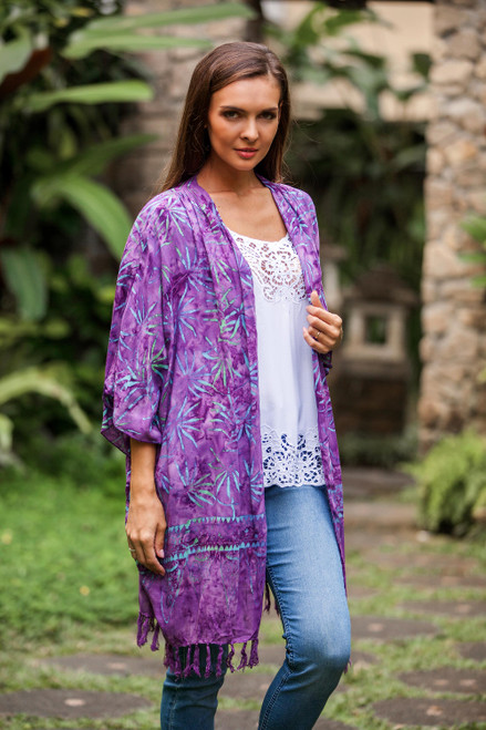 Leaf Motif Batik Rayon Kimono Jacket in Wisteria from Bali 'Denpasar Lady in Wisteria'