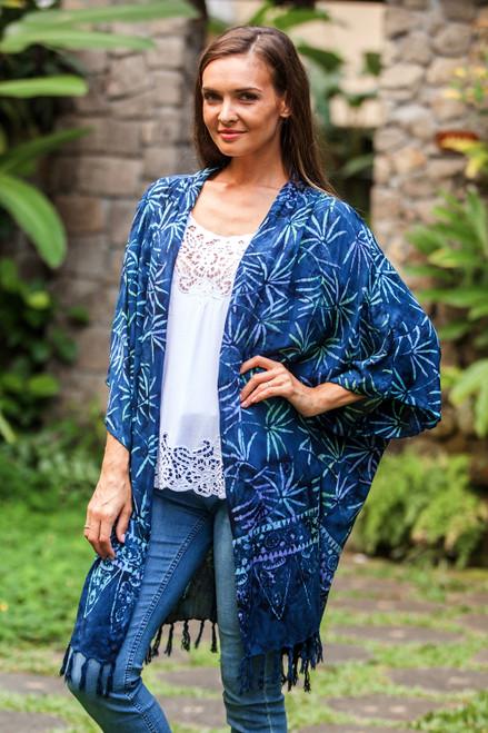 Leaf Motif Batik Rayon Kimono Jacket in Blue from Bali 'Denpasar Lady in Blue'
