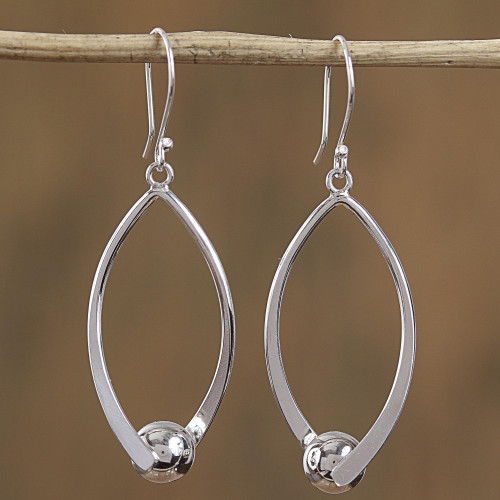 Modern Taxco Sterling Silver Dangle Earrings from Mexico 'Modern Perfection'