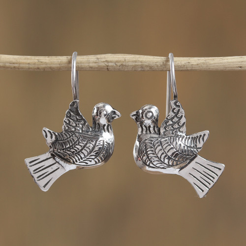 Taxco Sterling Silver Dove Drop Earrings from Mexico 'Peaceful Message'