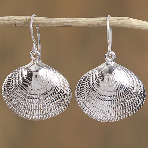 Taxco Sterling Silver Seashell Dangle Earrings from Mexico 'Mediterranean Shells'