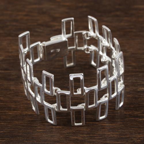 Rectangle Motif Sterling Silver Link Bracelet from Mexico 'Cross of Dublin'