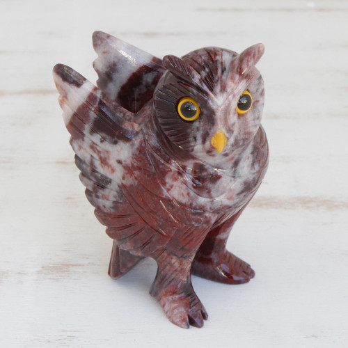 Hand-Carved Magnestie Owl Sculpture from Brazil 'Hooting Owl'