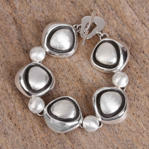 Abstract Sterling Silver Link Bracelet from Mexico 'Abstract Eyes'