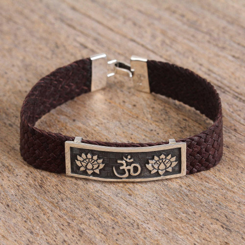 Men's Sterling Silver and Leather Om Bracelet from Mexico 'Om Lotus'