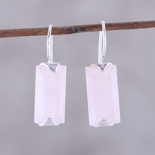12-Carat Rose Quartz Drop Earrings from India 'Beautiful Pink'