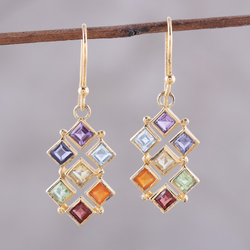 Gold-Plated Multi-Gemstone Chakra Earrings from India 'Wellness'
