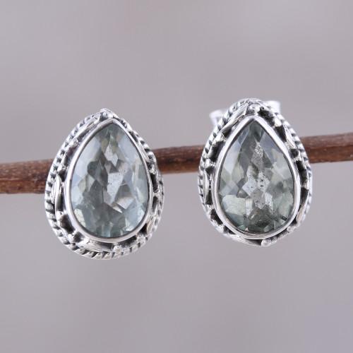 3-Carat Prasiolite Teardrop Stud Earrings from India 'Verdant Mist'