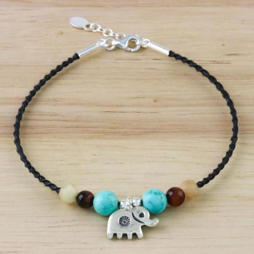 Multi-Gemstone Beaded Elephant Bracelet from Thailand 'Dreamy Elephant'