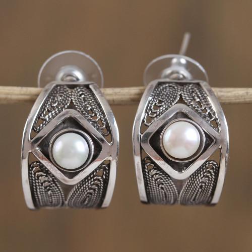 Cultured Pearl Filigree Half-Hoop Earrings from Mexico 'Taxco Glow'