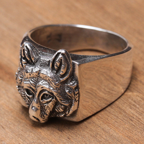 Men's Handcrafted Sterling Silver Wolf Head Cocktail Ring 'Wolf Gaze'