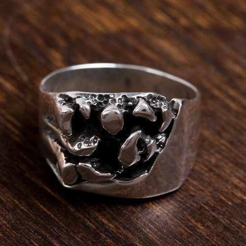 Men's Handcrafted Sterling Silver Abstract Cocktail Ring 'Crevices'
