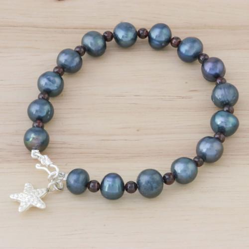 Black Cultured Pearl and Garnet Hill Tribe Starfish Bracelet 'Dark Starfish Love'
