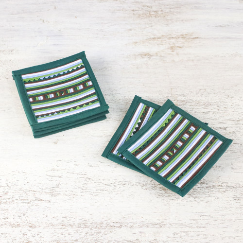 Striped Green Blue Brown Cotton Blend Coasters Set of 6 'Lively Lahu in Emerald'