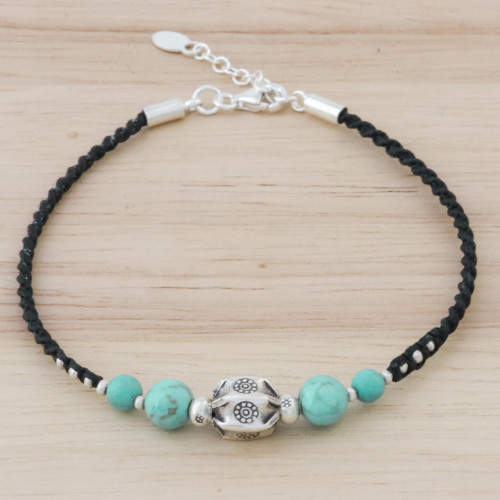 Silver and Turquoise Beaded Pendant Bracelet from Thailand 'Lovely Breeze'