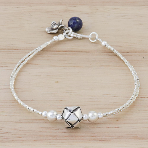 Silver Beaded Pendant Bracelet from Thailand 'Lovely Knot'