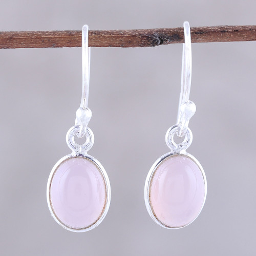 Soft Pink Chalcedony Dangle Earrings from India 'Luminous Soft Pink'