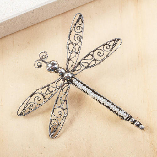 Cultured Pearl Filigree Dragonfly Brooch from Mexico 'Taxco Dragonfly'