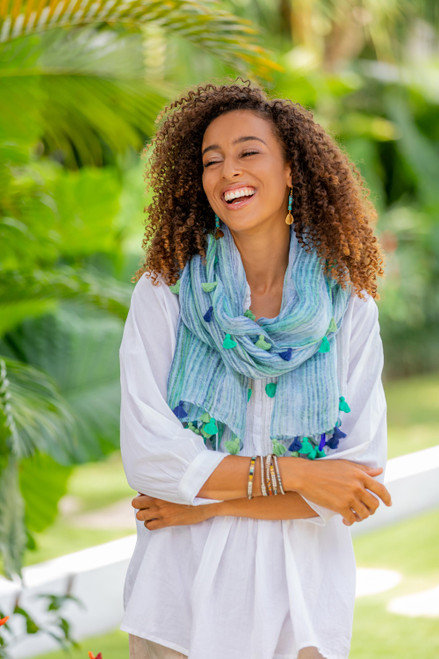 Lightweight Striped Linen Shawl in Blue from India 'Bay of Bengal'
