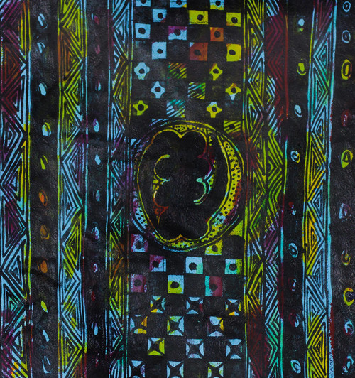 Signed Adinkra-Themed Abstract Painting from Ghana 'Gye Nyame'