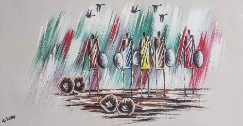 Signed Expressionist Painting of African Warriors from Ghana 'Warriors I'