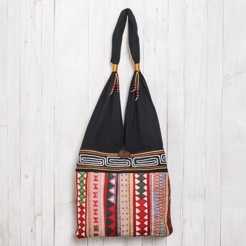 Thai Multicolored Cotton Shoulder Bag with Geometric Motif 'Thai Wanderer'