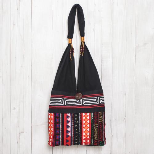 Thai Multicolored Cotton Shoulder Bag with Geometric Motif 'Ideal Thai'