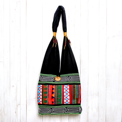 Thai Multicolored Cotton Shoulder Bag with Geometric Motif 'Ardent Thai'