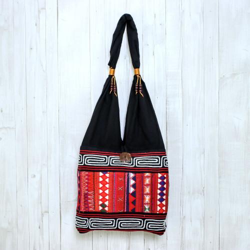 Thai Multicolored Cotton Shoulder Bag with Geometric Motif 'Thai Dawn'