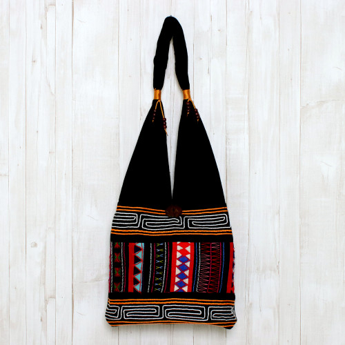 Thai Multicolored Cotton Shoulder Bag with Geometric Motif 'Mesmerizing Thai'