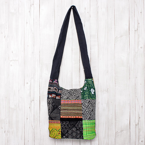 Thai Hill Tribe Cotton Sling Tote Bag with Patchwork Design 'Hmong Culture'