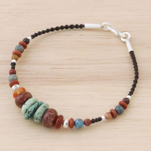Multi-Gemstone Beaded Bracelet from Thailand 'Bohemian Style'