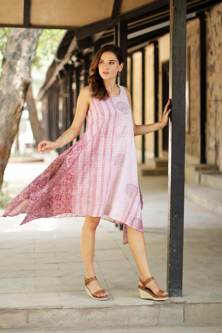 Block-Printed Cotton Sundress in Wine and Eggshell 'Spiced Wine'