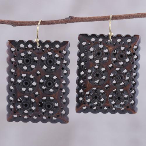 Dark Brown Jali Bone Dangle Earrings from India 'Dark Brown Jali Elegance'