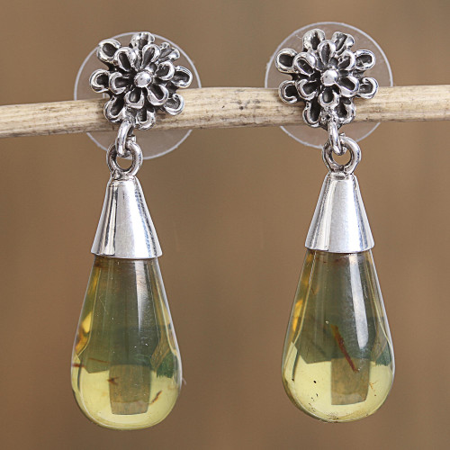 Floral Amber Dangle Earrings from Mexico 'Lovely Nectar'
