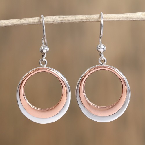 Circular Sterling Silver and Copper Dangle Earrings 'Eclipsed Circle'