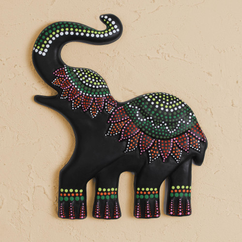 Hand-Painted Ceramic Elephant Wall Art from Mexico 'Dotted Elephant'