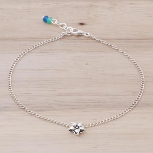 Handmade Sterling Silver and Quartz Floral Anklet 'Little Flower'