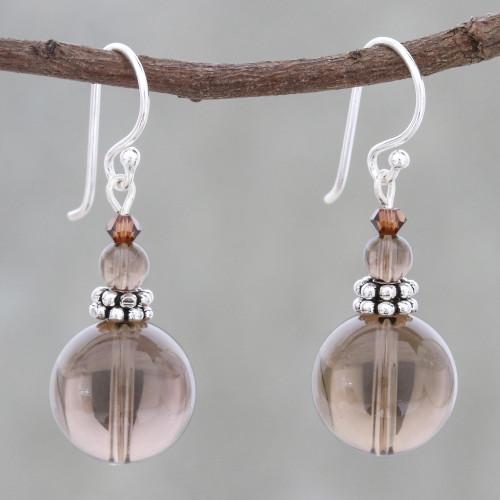 Smoky Quartz Beaded Dangle Earrings from Thailand 'Global Wonder'