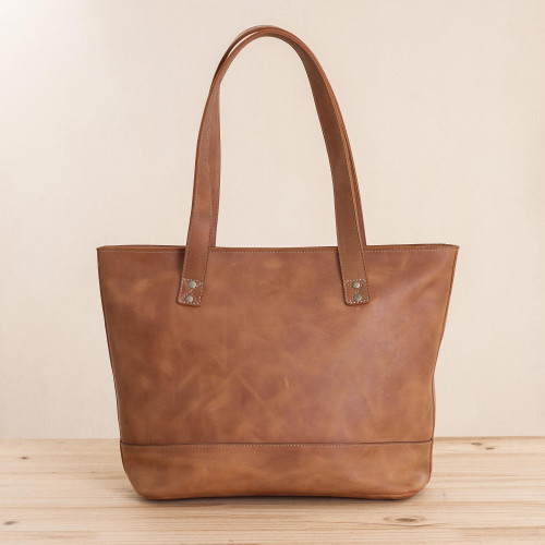 Handcrafted Leather Tote in Sepia from Peru 'Sepia Waves'