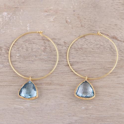 18k Gold Plated Blue Topaz Hoop Dangle Earrings from India 'Elegant Embrace'
