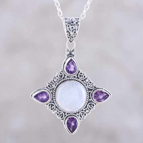 Amethyst and Rainbow Moonstone Silver Pendant Necklace 'Eternal Delight'