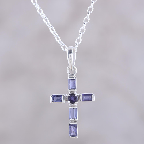 Iolite and Sterling Silver Cross Pendant Necklace from India 'Kolkata Cross'