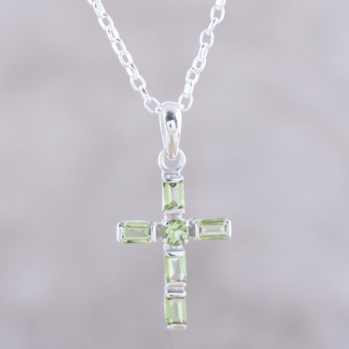 Sterling Silver and Peridot Cross Pendant Necklace 'Kolkata Cross'