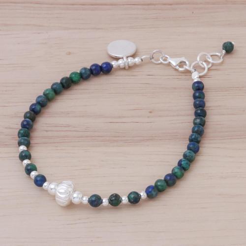 Azure-Malachite Sterling Silver Beaded Charm Bracelet 'Earthy Beauty'