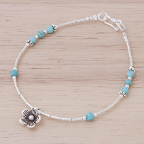 Blue Magnesite Sterling Silver Beaded Daisy Charm Bracelet 'Little Daisy'