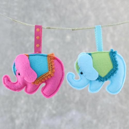 Felt Elephant Ornaments in Fuchsia and Blue Pair 'Delightful Elephants'