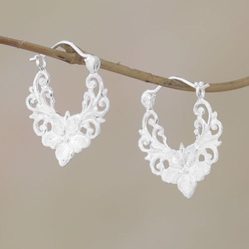 Floral Sterling Silver Hoop Earrings from Bali 'Glistening Garland'