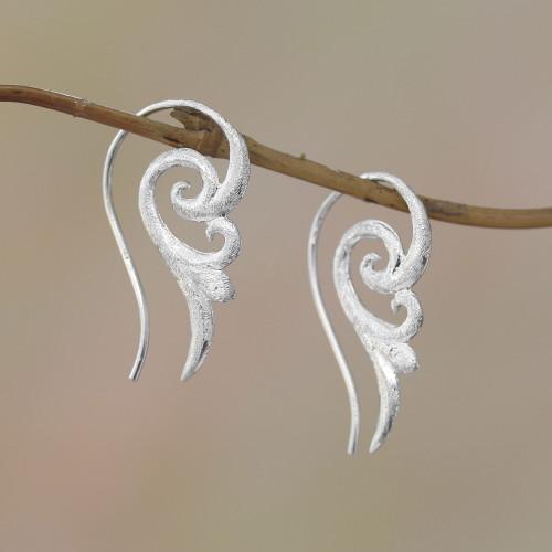 Spiral Motif Sterling Silver Drop Earrings from Bali 'Glistening Wings'