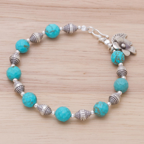 Beaded Silver 950 and Magnesite Bracelet with Charms 'Floral Fete'